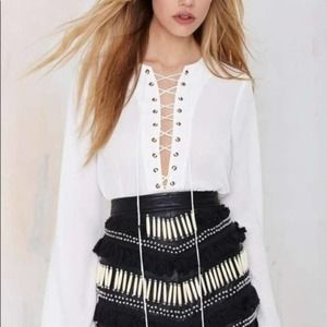 Nasty Gal White Lace Up Blouse, MED